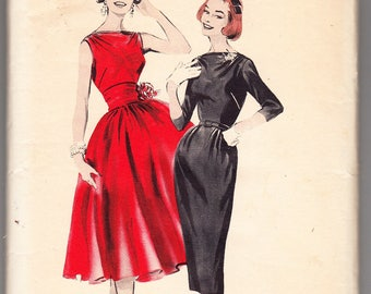 Vintage 1958 Butterick 8357 UNCUT Sewing Pattern Misses' Dress With Choice of Skirt Size 12 Bust 32