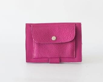 Hot pink leather bifold wallet, phone wallet bifold womens large leather phone wallet minimalist - Iole Wallet