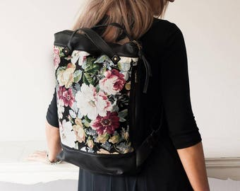 Floral backpack with black leather and canvas, woman backpack purse laptop 13 macbook daypack everyday patterned - The Minos Bag