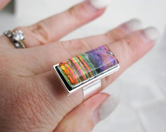 Medium Glass Cocktail Ring (adjustable) – multicolour