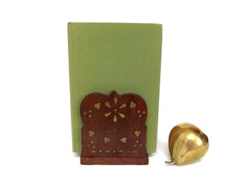 Vintage Carved Wood Brass Inlays Book Rack,  Expandable and Folding for Desk, Table or Shelfie