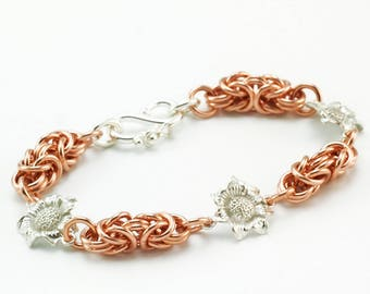 14kt Rose Gold Filled and Sterling Silver Flower Bracelet - Grand 16 gauge Byzantine Chainmaille