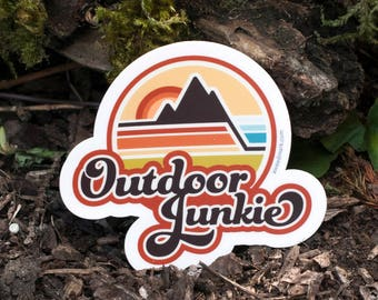 OUTDOOR JUNKIE : Live Outdoors, Outdoors, Adventure Stickers, Outdoorsy Stickers, Explore Stickers, Wander Stickers, Wanderer