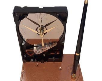SALE 10% OFF! Pen Holder Hard Drive Clock. Cool Office Gift Clock, Teacher Gift Clock, Business Award Clock. Desk Set. Unique Geek Clock.