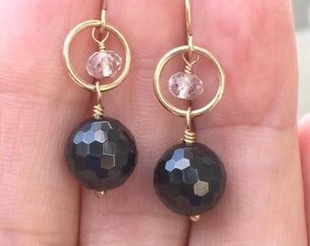 Black Spinel Dangle Earrings  Gold filled Simple Earrings  Black Gemstones  Natures Splendour  White Topaz  Dangle Earrings