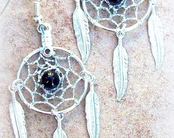 EPIC SALE Silver & Black Dream catcher earrings with onyx and three feathers -smaller version
