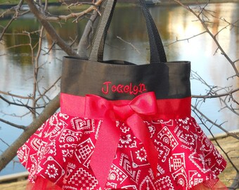Tutu tote bag, dance bags, Naptime 21, tutu dance bag, ballet bag, Black Tote bag with a Red Bandana Skirt, MINI Tutu Tote Bag - MSTB211