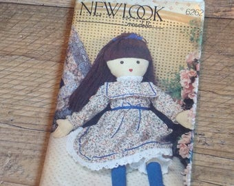 Vintage Rag Doll Sewing Pattern, Vintage Doll and Dress Sewing Pattern