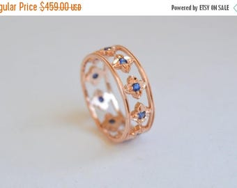 SALE Eternity Band, Rose Gold Ring, Sapphire Ring, Petal Ring, 14 Kt Gold Ring, Gold Sapphire Ring, Flower Ring, Millgrained Ring, gift for