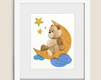 11 x 14 Wall Art for Nursery Decor, Teddy Bear Childrens Art, Babys Room Art, Moon and Stars Nursery Wall Art, Childs Wall Art    (333)