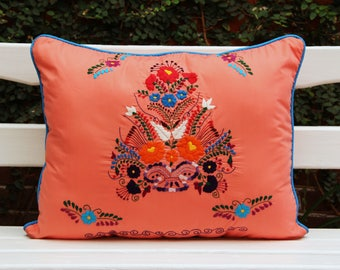 Coral  and multi colored Sham created from huipil kaftans