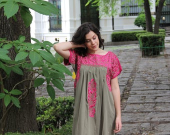 Olive Sage and Fuchsia embroidery Mexican Wedding Dress