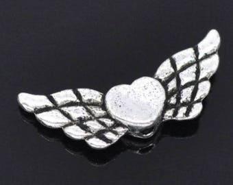 17 perles intercalaires coeurs avec des ailes argenté 22 x 9 mm amour