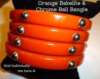 Bakelite Bangle with Chrome Ball. Vintage Orange Bakelite Bracelet Sold Individually. Each One Has a Hole for Crafting or Jewelry Supply.