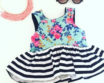 CROPPED TOP-  Floral and Stripw Toddler/Girls, crop top