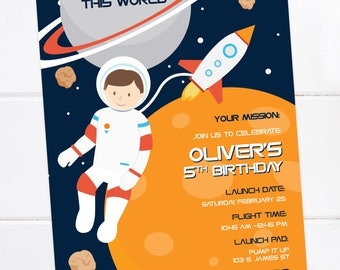 Space Invitation, Astronaut, Outer Space Birthday, Space Party, Rocket Birthday, Space Party, Planet Birthday Invitation, Space Birthday