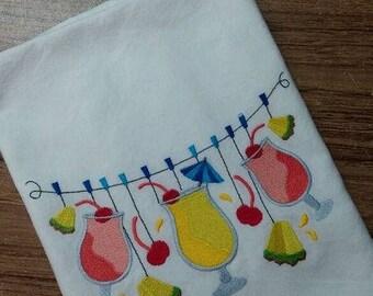 Pina Colada clothesline  White Cotton Kitchen Tea Towel