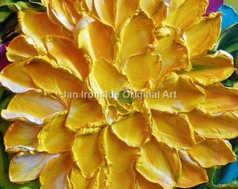 Flower Painting , Oil Painting ,  yellow Dahlia , Impasto , Original Painting, floral art