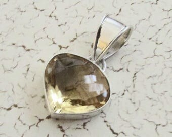 Large Sterling Silver & Citrine Heart Pendant Pendant on Etsy by APURPLEPALM