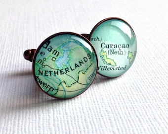 Commemorative Glass Map Cuff Links, Copper Anniversary Gift for Him, Men's Jewelry, Homeland, Birthplace, Patriotic Cufflinks, Valentine's
