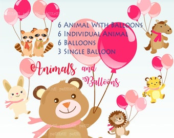 ON SALE animals balloons clip art,; woodland forest animals, animals and balloons , baby shower clip art, printable, birthday, scrapbook