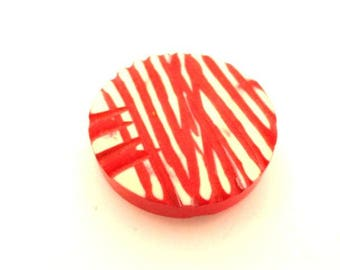Cerise Pink and White Striped button (no. 00858)*Available in Quantity*