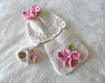 Hand Knitted Flower Baby HAT and  DIAPER COVER  cotton knitted baby cloche Newborn Knitted Baby Hat Knitted Baby Beanie Children Clothing
