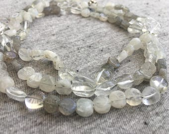 Labradorite Necklace, Moonstone Necklace, Rock Crystal Beads, Long Beaded Necklaces, Womens Jewelry, Boho Jewelry, Beaded Necklace