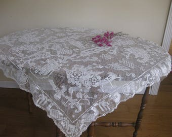 Vintage White Lace Tablecloth, Rectangle Ecru Tatted Table Covering, Fine Dining Decorative Table Cover Design