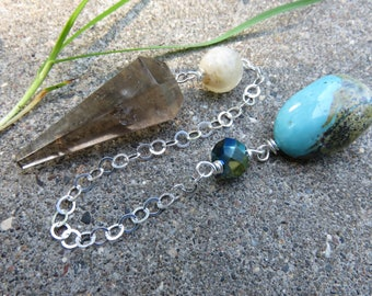 Mystical Smoky Quartz Pendulum, Turquoise & Moonstone Beads, Crystal Bead, Sterling Chain