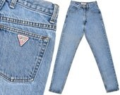 Vintage Guess Jeans Slim Fit Skinny Leg 80s Mom Jeans High Waist Jeans Faded Guess Denim Blue Jeans High Waisted Tapered Leg Jeans XS 24 W