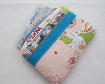 Zipper Coin Purse Wallet - Fabric Business Card Holder - Starling Birds