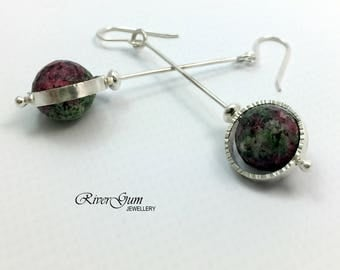 Silver Earrings, Ruby Zoisite Long Circle Earrings, Silver Circle Earrings, Handmade by RiverGum Jewellery