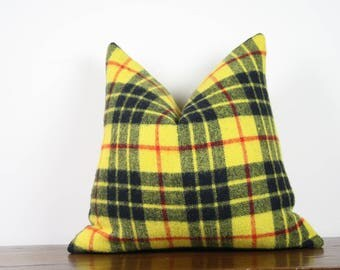 "20""x20"" Yellow and Red Vintage Wool Pillow Cover 