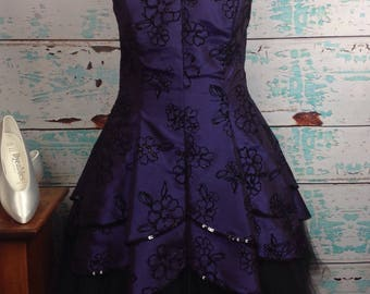 Vtg 90s Masquerade Purple Taffeta Tulle Velvet Prom Dress 16/17 XL Extra Large VGUC