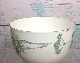 Vintage Kaj Franck Finel Arabia Green Herbs enamel enamelare bowl kitchen chef cook cooking mixing serving Mid Century Modern kitschy kitsch
