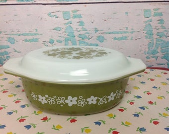 Vintage Pyex Spring Blossom crazy daisy green floral oval 043 casserole dish opal patterned lid kitchen Cooking Baking Chef Food storage