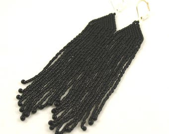 Extra Long Beaded Fringe Earrings . Black Halloween Jewelry . Seed Bead Jewelry . Long Shoulder Duster Earrings