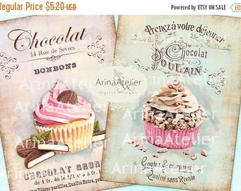 SALE - 30%OFF - Shabby Chic Patisserie Set no.2 - Large Images - Backgrounds - 5x7 inch - Digital Print - to print on- Tote, Bags, t-shirts