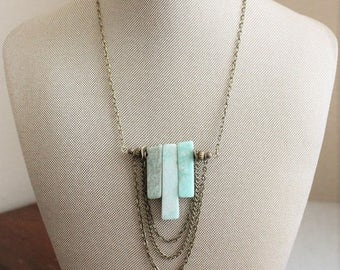 VACATION SALE- Amazonite Triple Bar Necklace. Gemstone Necklace.