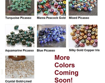 SuperDuo Two Hole Czech Glass Beads 10-Grams Ur PICK Turquoise Picasso Marea Peacock Red Blue Aquamarine Silky Copper Iris Gold Lined