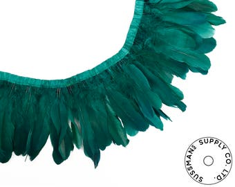 "Feather Trim - Goose Feather Satinette Fringe Trims - Emerald Green - 5""-7"" (1 yard)"