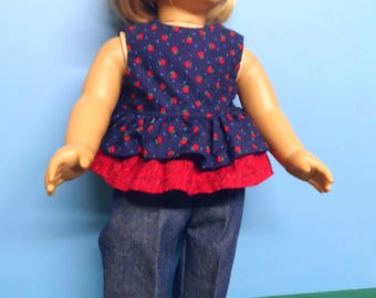 """Fits 18"""" dolls -  Jeans and Navy/Red Top"""