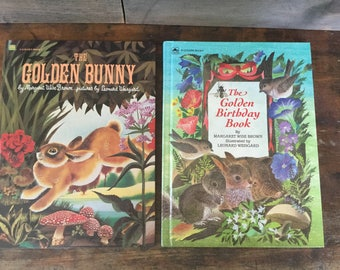 Two Vintage Books by  Margaret Wise Brown & Illustrator, Leonard Weisgard, The Golden Bunny, The Birthday Book, Large Oversize Golden Books