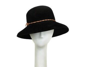 Black Wide Brim Hat, Felt Hat, Winter Hat for Women, Fedora Hat, Big Brim Hat, Rose Gold, Sun Hat Womens, Fancy Hat, Casual Hat, Black Hat