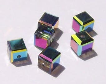Swarovski Crystal Beads CUBE 5601 Swarovski elements beads Vitrail Medium -- Available in 4mm, 6mm and 8mm