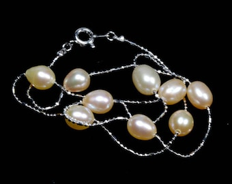 Pink Luster Fresh Water Pearl Necklace Dainty Platinum Chain
