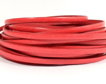 25% Off Watermelon - 5mm Flat Italian Dolce Leather - L5F-D5 - Choose Your length