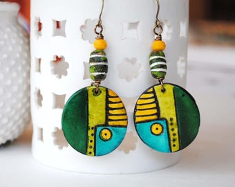 Green Geometric Earrings, Polymer Clay Earrings, Bright Colored Jewelry, Light Weight Earrings, Funky Artisan Earrings