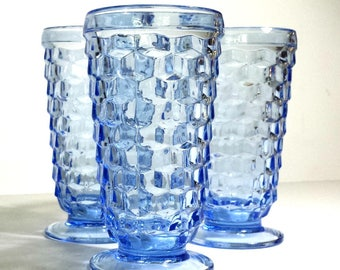 Colony Glass Whitehall Light Blue Iced Tea Glasses Set of 3 / 1960s Blue Stacked Cubes Glasses Set of 3 / Retro Glassware Wedding Gift